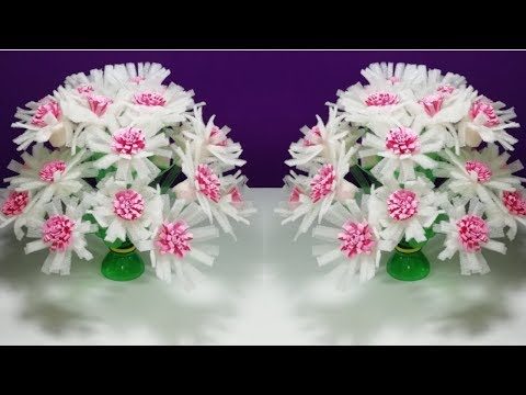 How to make Beautiful paper pom poms flower || Make Wonderful flower from plastic bottle Recycle flo