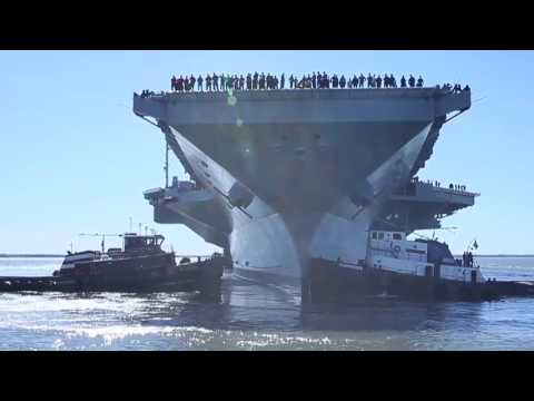 USS Gerald R. Ford (CVN 78) departs the shipyard.