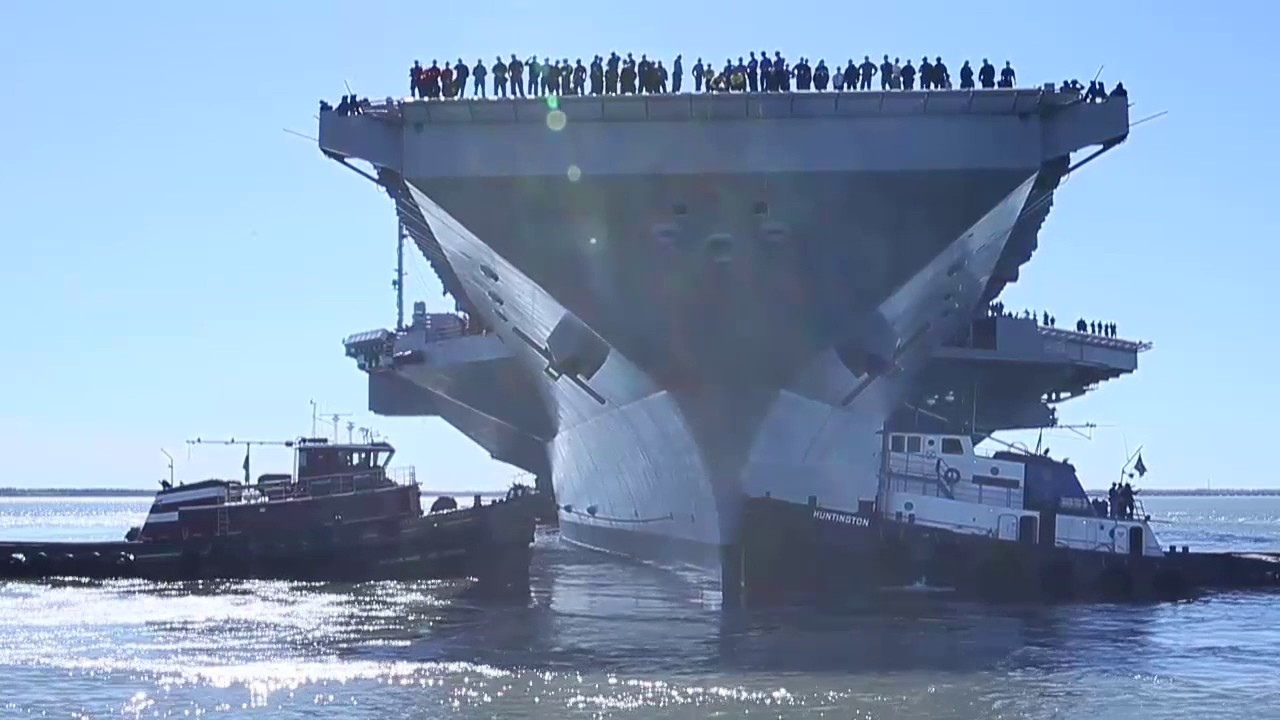 USS Gerald R. Ford (CVN 78) departs the shipyard. - YouTube