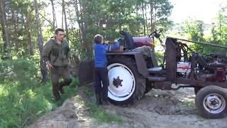 Расчищаем завал на дороге самодельным трактором .