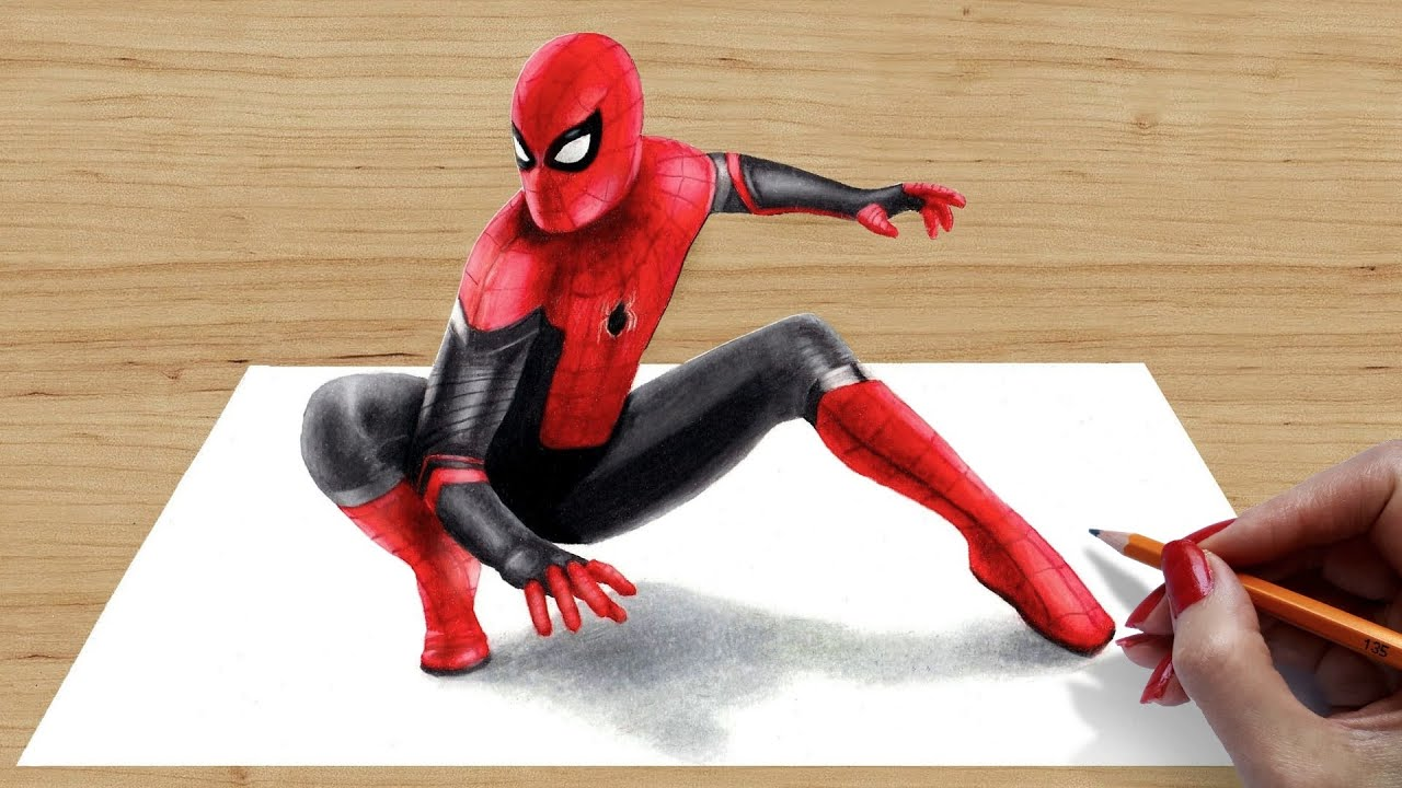 3d Drawing Spider Man Far From Home Youtube