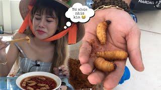 Thử Thách Ăn Con Đuông Dừa Sống Lội Nước Mắm Kinh Dị cùng anh Quay phim Và cái Kết NNL
