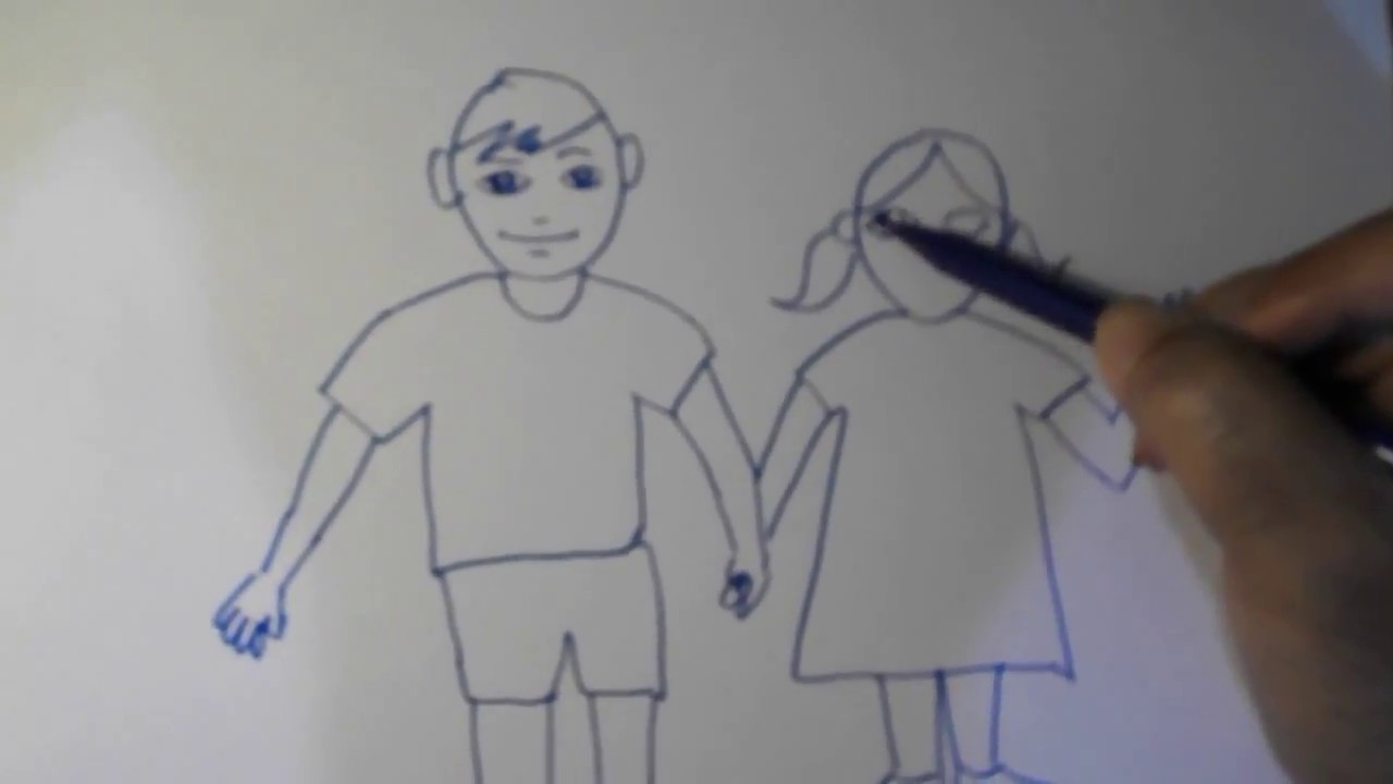How to draw a brother and a sister / Bagaimana cara ...