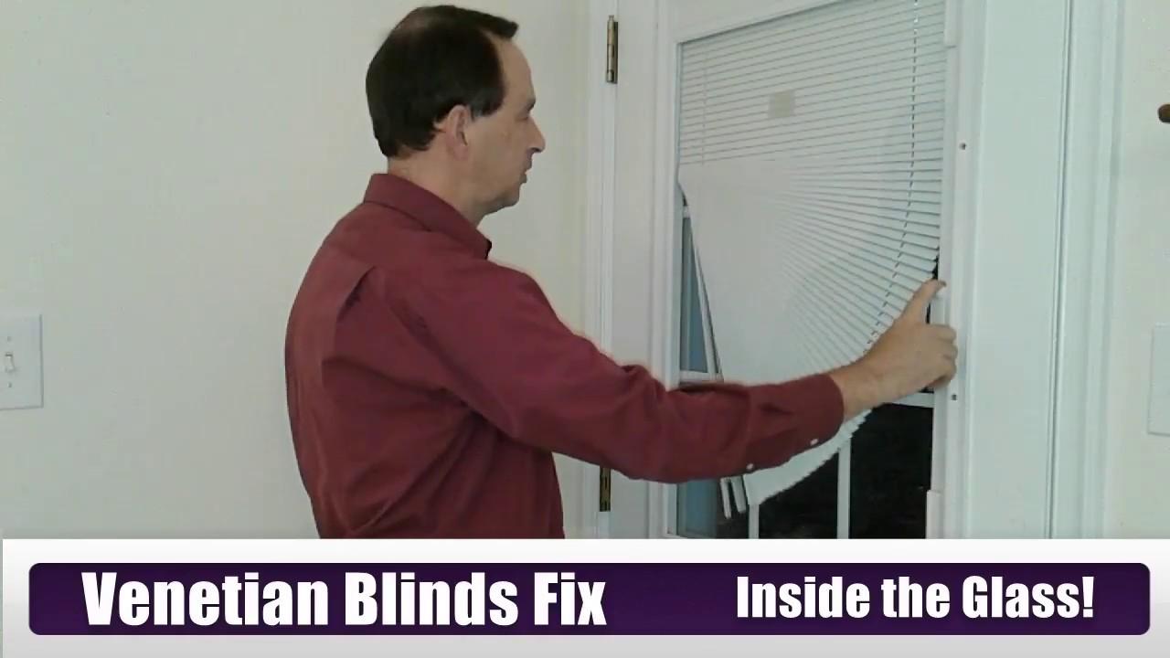 can you fix venetian blinds inside the glass entry door window repair