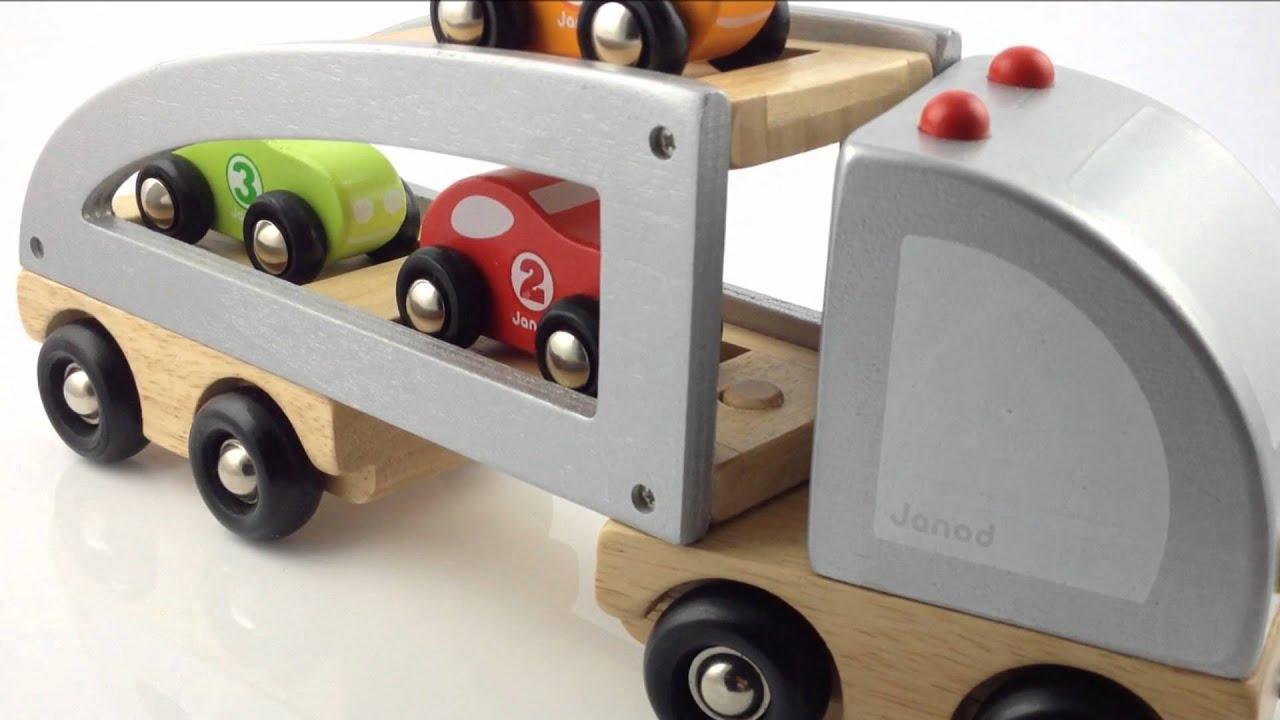 Houten Garage Janod : Janod houten trekfiguur vrachtwagen 3 autos youtube