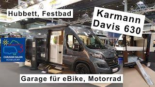Karmann Davis 630, Caravan Salon Düsseldorf, längs Hubbett, Garage für eBike \u0026 Motorrad, Festbad