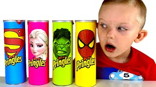 Martin Pretend Play with Magic Superhero Chips | Kids Food Toys Transforms into Superheroes