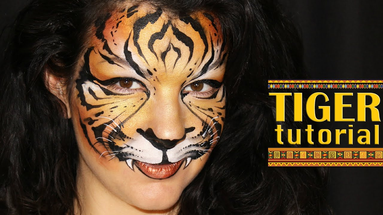 Tiger makeup face painting tutorial youtube baditri Image collections