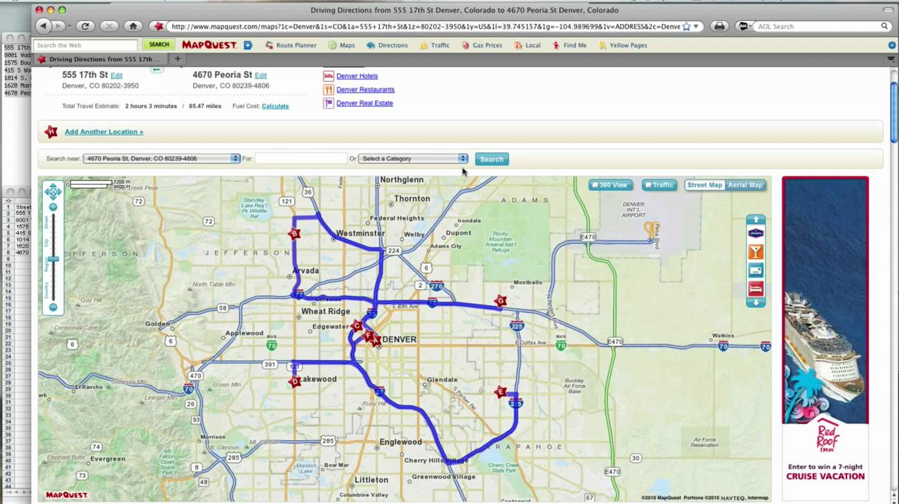 How to -- MapQuest Route Planner - YouTube Google Mapquest Driving Directions on