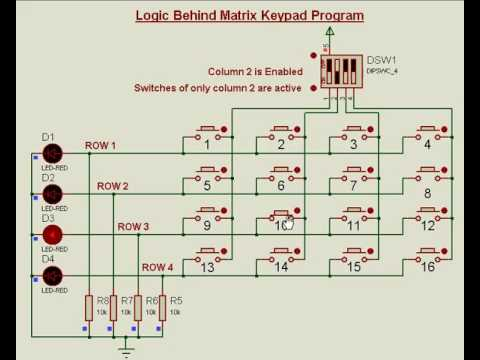 Matrix Keypad Interfacing using Proteus