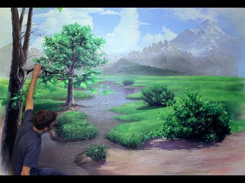 How to paint a landscape mural joe youtube for A mural is painted on a