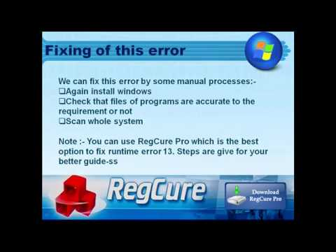 Easy way to solve runtime error code 13