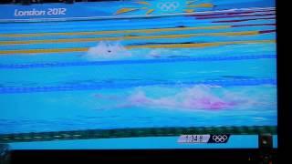 2012ロンドン五輪競泳女子400㍍メドレーリレーで日本女子(寺川、鈴木、...