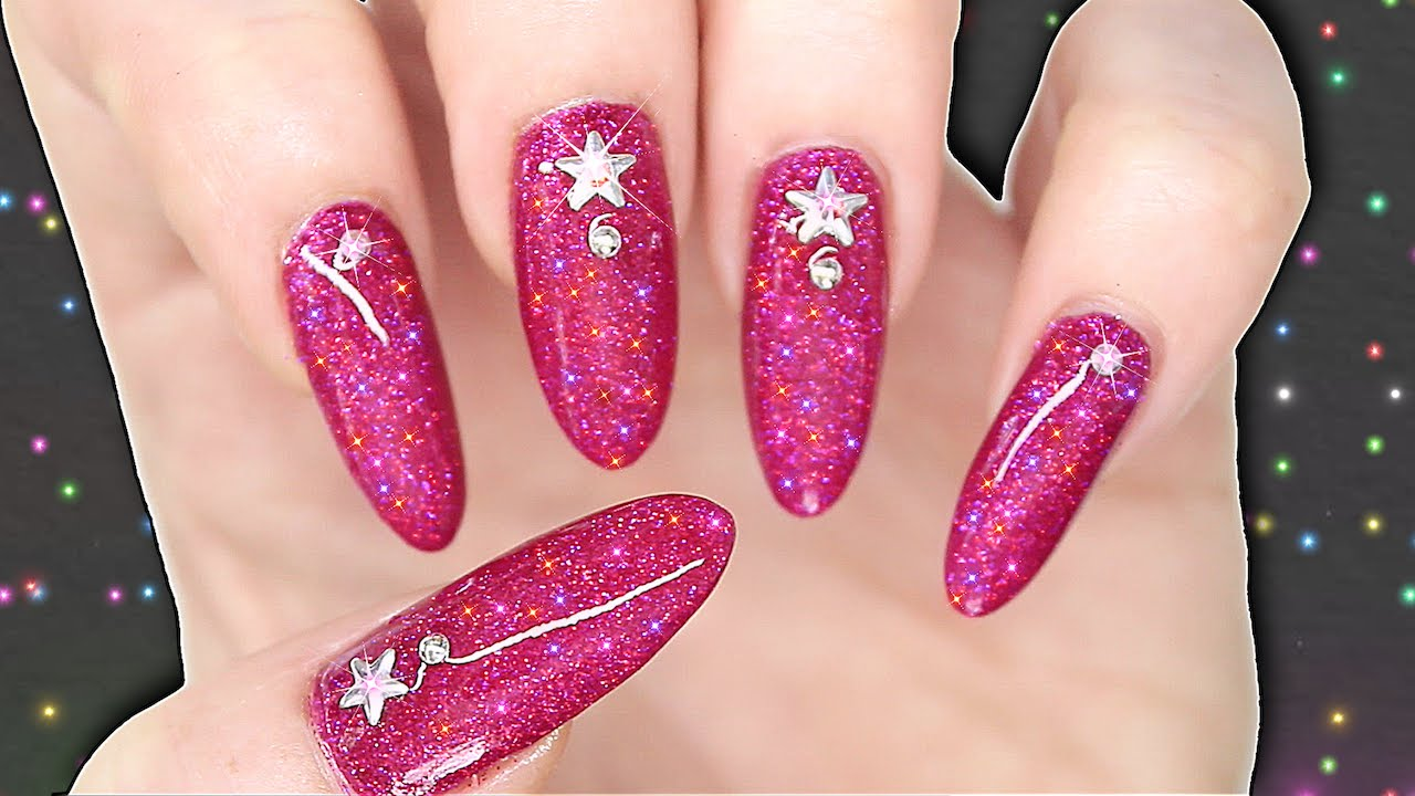 DIY GEL POLISH EFFECT NAILS - HOT PINK HOLOGRAPHIC GLITTER NAILART ...