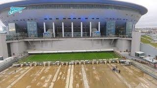 «Зенит-ТВ»: на стадионе «Санкт-Петербург» провели тестовый запуск системы выкатного поля