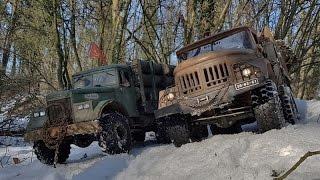 rc axial scx10 kraz 255 zil 131 6x6 some snow fun