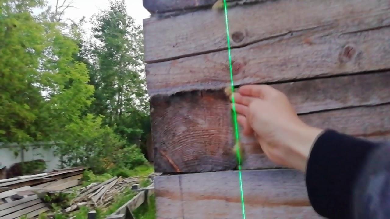 Проверка стен дома из бруса на вертикальность лазерным уровнем | Евгений Столев