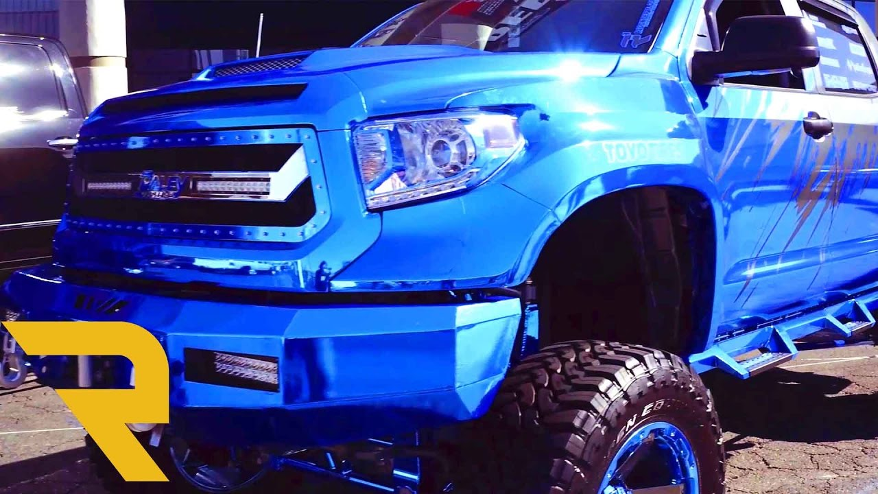 chrome blue custom 2016 toyota tundra wide body sema 2016. Black Bedroom Furniture Sets. Home Design Ideas
