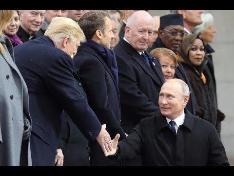 Vladimir Putin Meets President Donald Trump in Paris France on 11-11-11