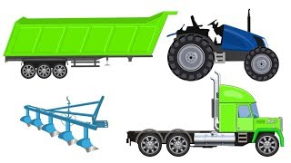 Funny Story about Tractor Dump Truck | Learning Farm Machines and Street Vehicles