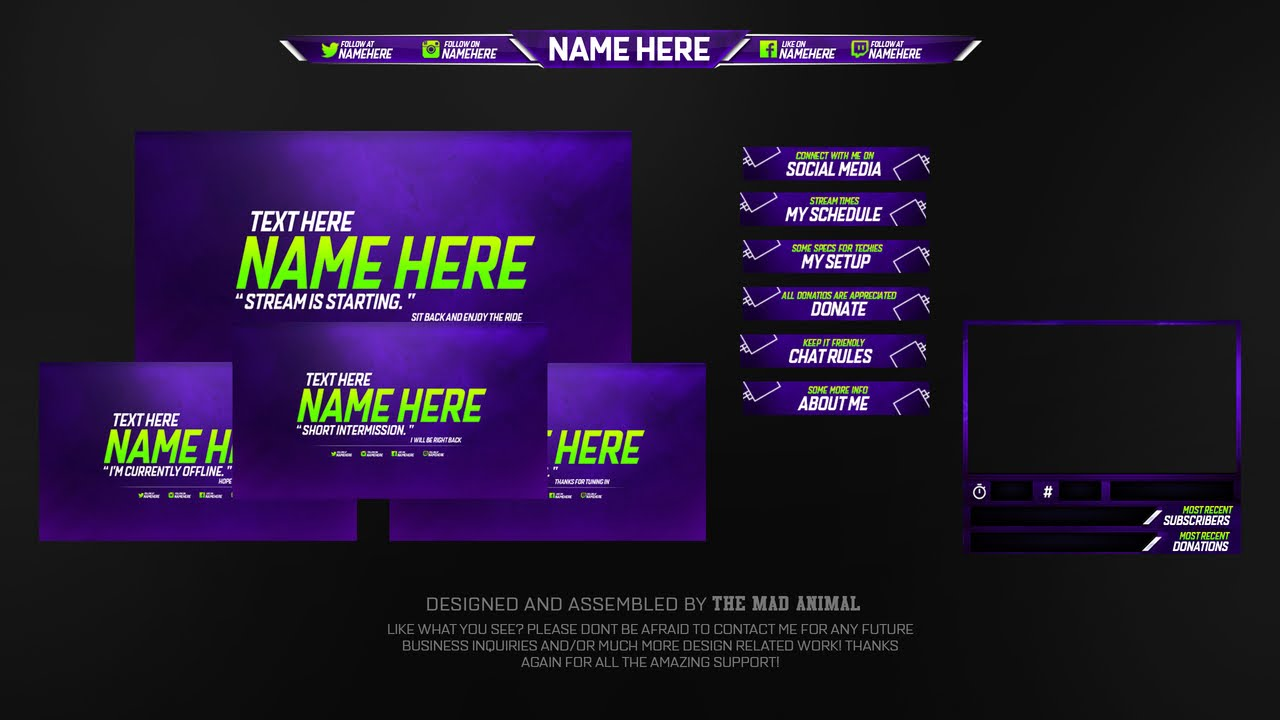 Free Twitch Overlay Template Pack # 2 - PSD - Free Download