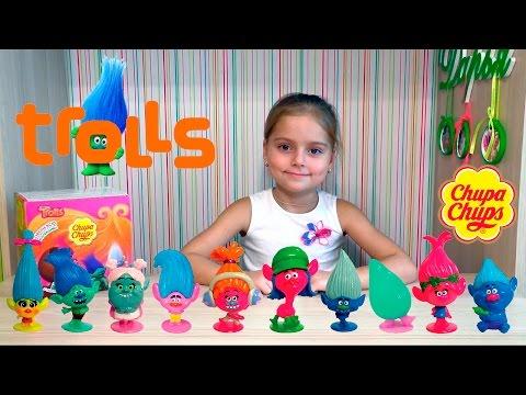 Видео, Открываем киндеры Чупа Чупс с игрушками тролли 2016. Распаковка троллей. chupa chups trolls розочка