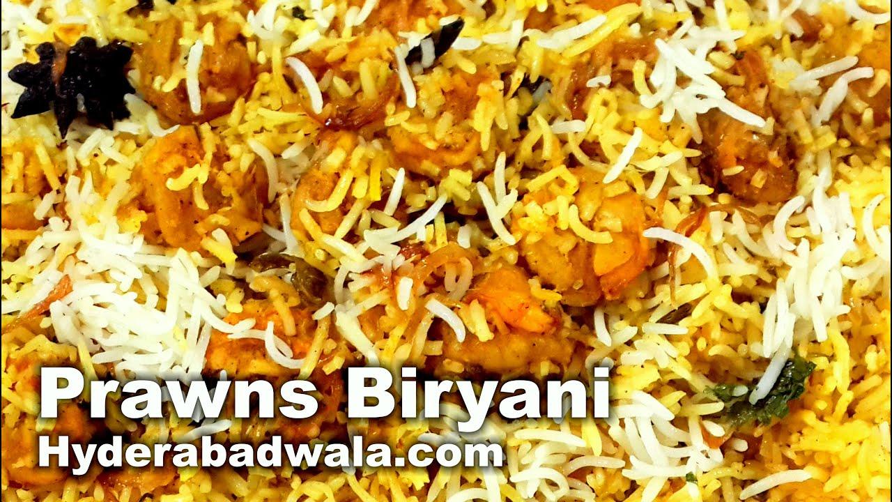 Prawns Biryani Recipe Video How To Make Hyderabadi Jhingon Ki