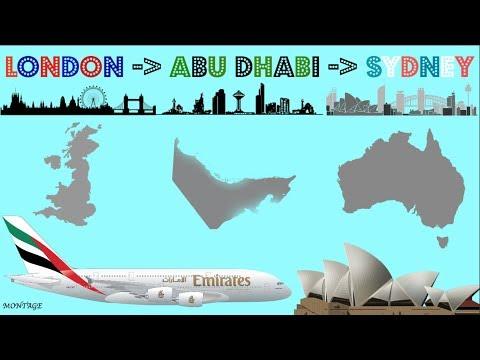 LONDON to ABU DHABI to SYDNEY - (A380) (Etihad) (Montage)