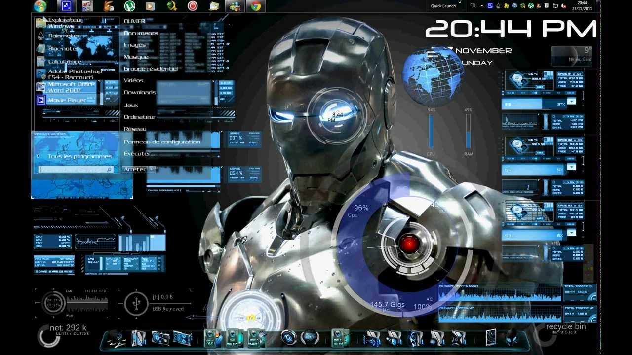 Ironman jarvis theme for windows 7