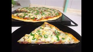 Тонкая домашняя пицца. Простой рецепт!