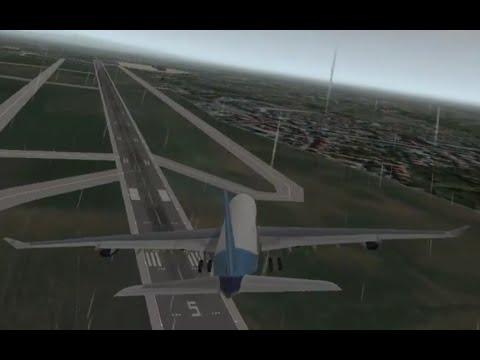 Airbus A340 Side-step landing in rainy weather at Verona Villafran Airport (HD) Extreme Landings Pro