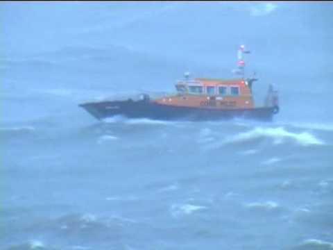 Interceptor 42 in huge seas at Cork Harbour