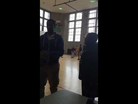 Teacher hits a backwards shot from half court in my gym class at Amandla Charter School in Chicago