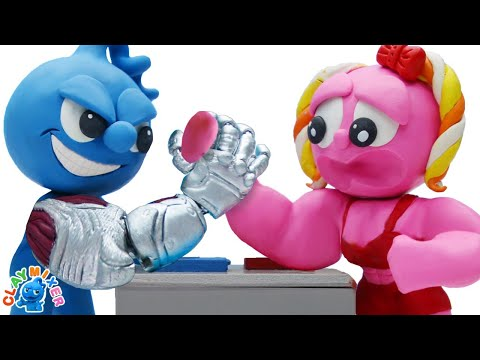 Cyborg Arm Wrestling - Clay Mixer Stop Motion Animation