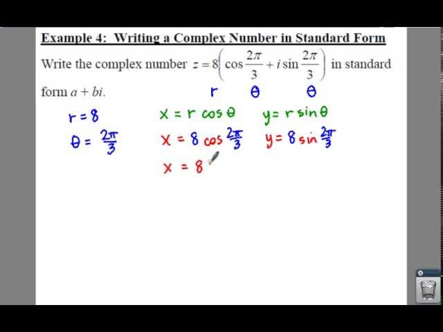 Pre Calculus 65 Trigonometric Form Of A Complex Number Lessons