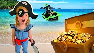 Adley finds Ryan's Mystery Pirate Treasure Chest in backyard with Mom!! Hidden Gold Hide N Seek!