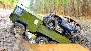RC Cars OFF Road #MUD Adventure 4x4 VS 6x6 – MAN Truck The Beast VS #Axial Wraith