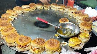 BURGER MAKING | Super Fast Cooking Skills | Egg Anda Bun Kabab at Street Food of Karachi