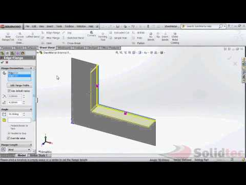 SolidWorks-Sheet Metal - Mitered Flanges on an Internal Corner.