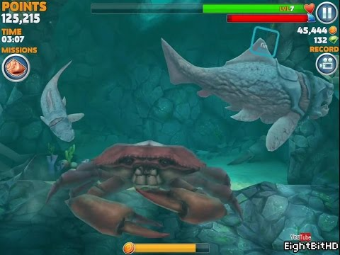 Hungry Shark Evolution Big Daddy (Dunkleosteus) Defeating Giant Red Crab