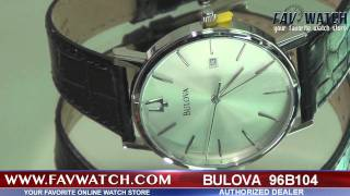 Mens Bulova watch 96B104 with black leather strap.