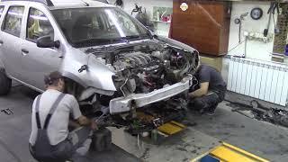Кузовной ремонт. Рено Дастер демонтаж двигателя. Body repair.