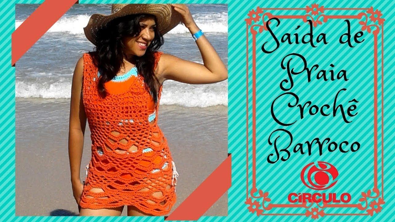 ff2707eb6 Saída de Praia Crochê Barroco - receita Círculo Produtos - Primeira Parte