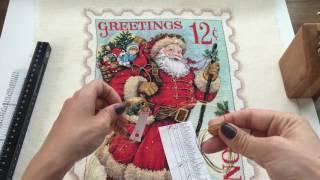 82. Вышивка Крестом. Santa Stamp Dimensions. Готовая Работа.