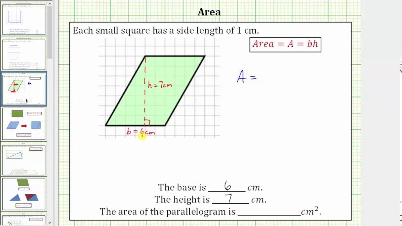 hight resolution of Determine the Area of a Parallelogram on a Grid - YouTube