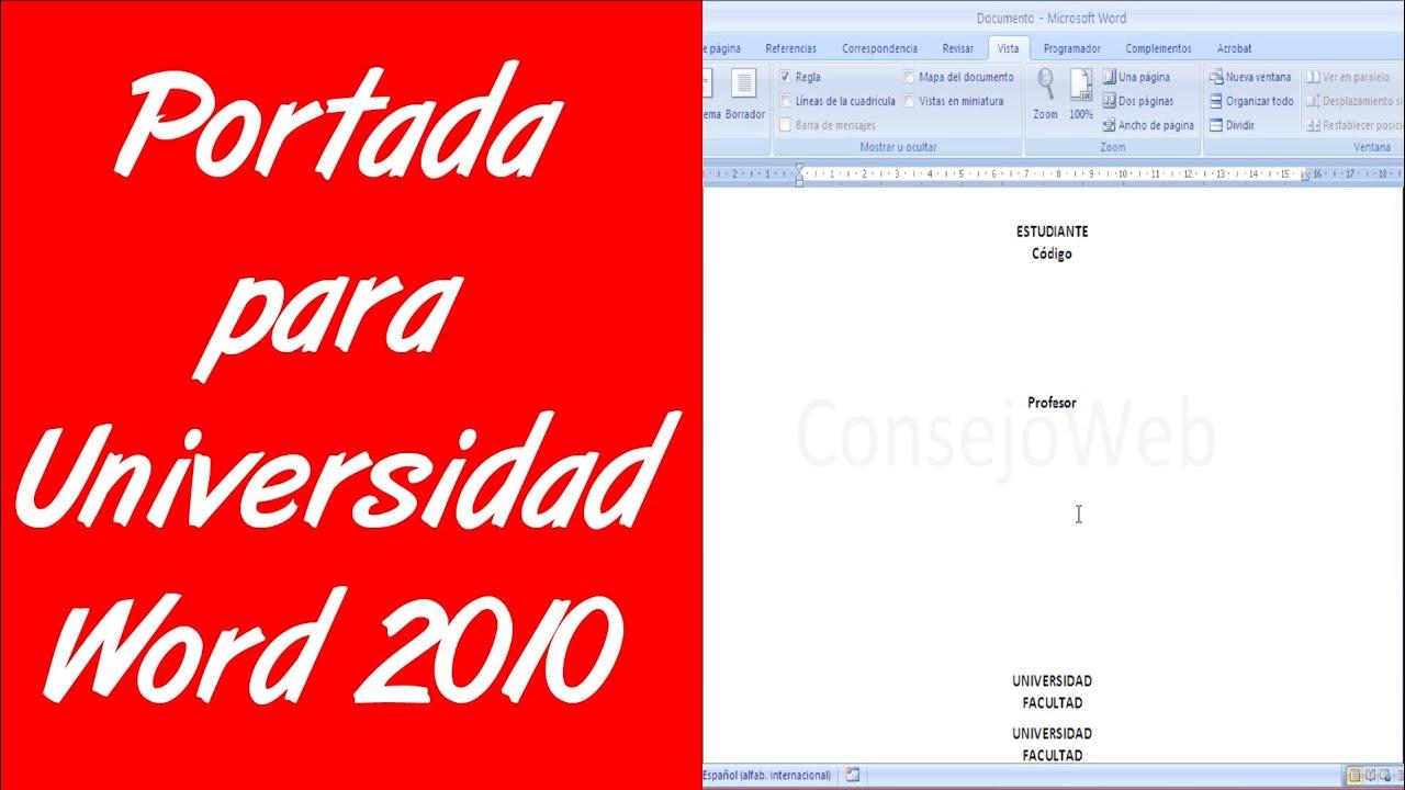 como hacer una portada para universidad en word 2007 2010 youtube