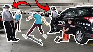 SKATEBOARD TRICKS AT THE MALL! (COPS CALLED)