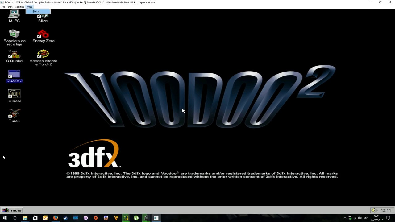 PCem V12 Voodoo 2 SLI Quake II 3 Different Resolutions And
