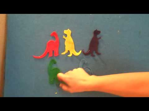 Preschool Songs ~ Five Enormous Dinosaurs Flannel Board Story ~ Children's Preschool Song