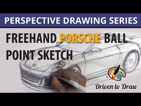 FREEHAND-SKETCHING-PORSCHE-BALL-POINT-IN-PERSPECTIVE